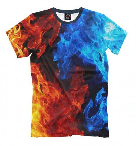 Огонь и Вода. Стихия. Мужская футболка с полным принтом. Крутая футболка с принтом как спереди так и сзади... Огонь и Вода!