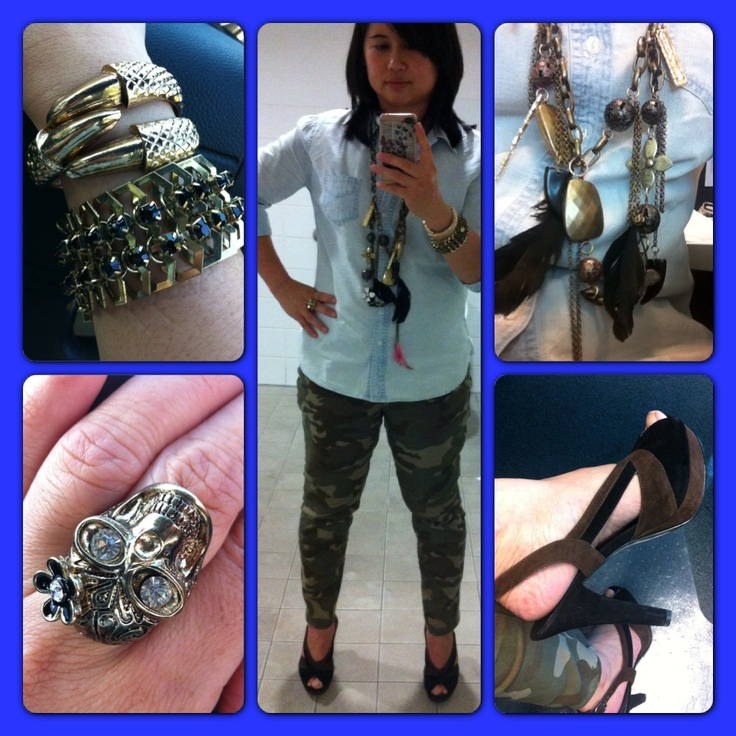 Outfit and Accessories (01/03/2013): Bracelets from Equip. Skull Ring from Lovisa. Necklace from Diva. Chambray Top from Portmans. Camouflage Pants from Target. Shoes from Nine West.