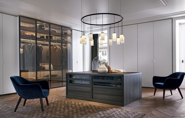 """Senzafine Fitted wardrobe, leaf opening, in a double depth composition, lateral parts d. 18 1/4"""" white mat lacquered doors, central part d. 24'' with reflecting transparent glass doors with piombo painted frame."""