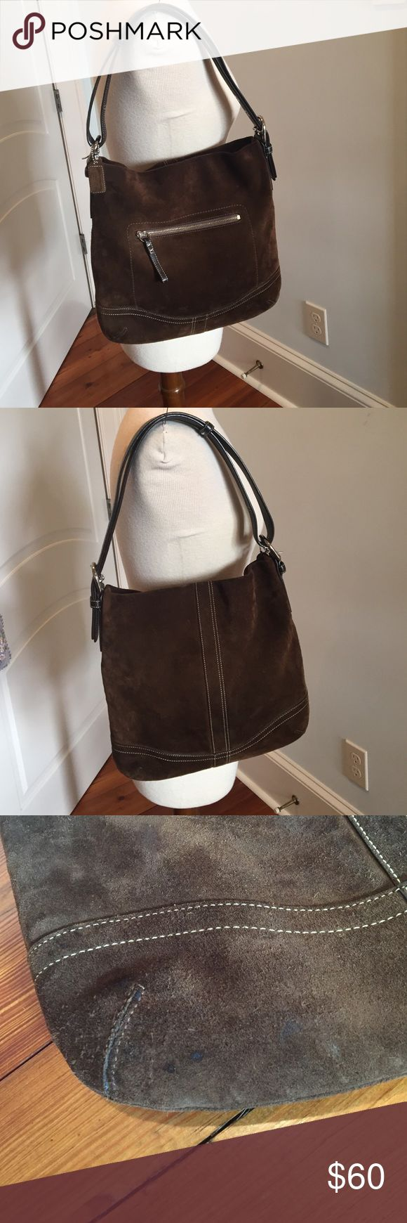 Coach brown suede hobo shoulder bag Gently loved brown suede Coach shoulder hobo bag. Pristine interior. Small barely noticeable scuffs at bottom and on backside. Coach Bags Shoulder Bags