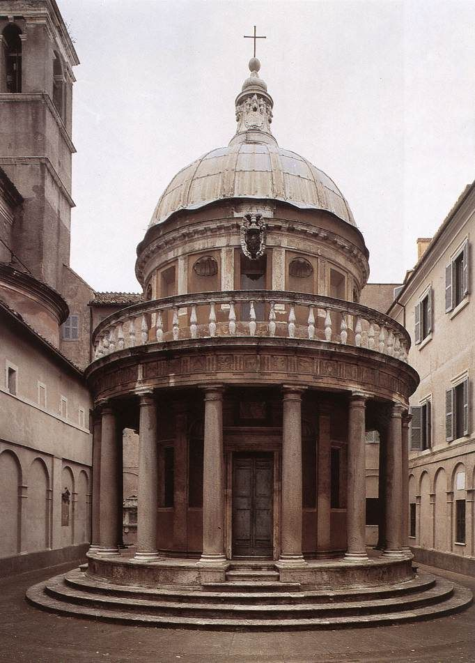 BRAMANTE: Tempietto, San Pietro in Montorio, Rome, 1502. Despite its small scale, the construction has all the rigorous proportions and symmetry of Classical structures, surrounded by slender Doric columns, surmounted by a dome.