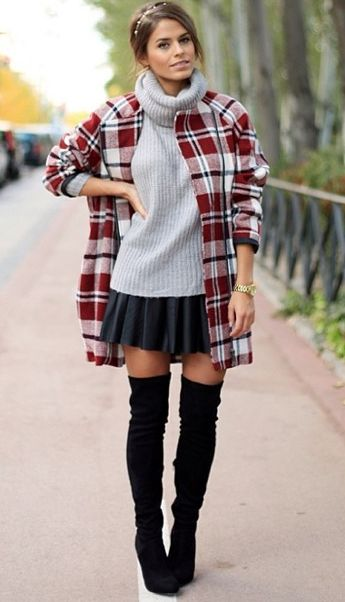 Short Skirt With Over The Knee Boots Fall Winter