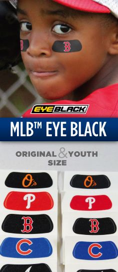 MLB Eye Black, available in both original and youth sizes here: https://www.eyeblack.com/major-league-baseball.html/