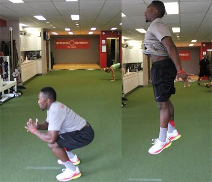 Total-Body Football Workout: Start in a squat position: Knees bent, butt down, back straight, and toes pointed slightly outward. Explode upward by jumping as high as you can, then absorb the impact by landing on the balls of your feet and going right back into your squat. Do 10 reps, making sure your knees are not buckling inward upon landing or push-off. #SelfMagazine