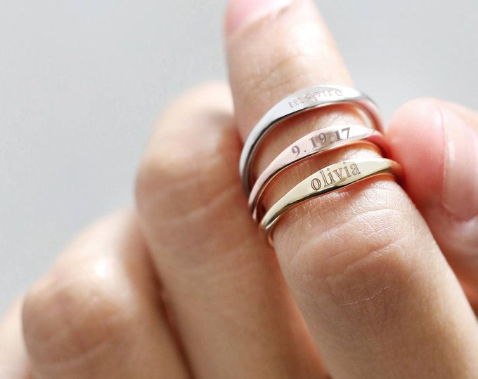 Personalized Name Ring Custom name ring Bridesmaid Gift Stackable Name Ring New Mom Gift Personalized Gift