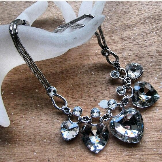 Crystal heart necklaces.