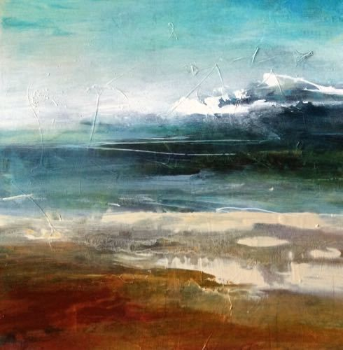 """Joan Fullerton Paintings: Contemporary Abstract Landscape Painting """"Premonition"""" by Intuitive Artist Joan Fullerton"""