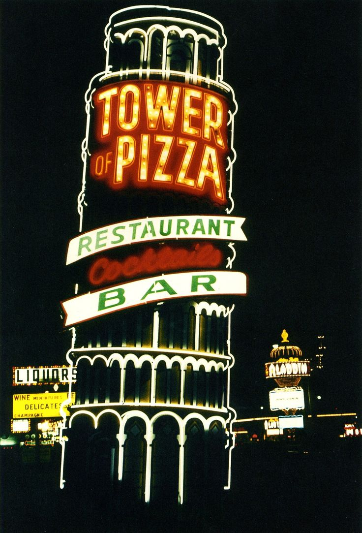 "Tower of Pizza. Las Vegas Strip, 1968, ""Vintage las Vegas"". ❣Julianne McPeters❣ no pin limits"