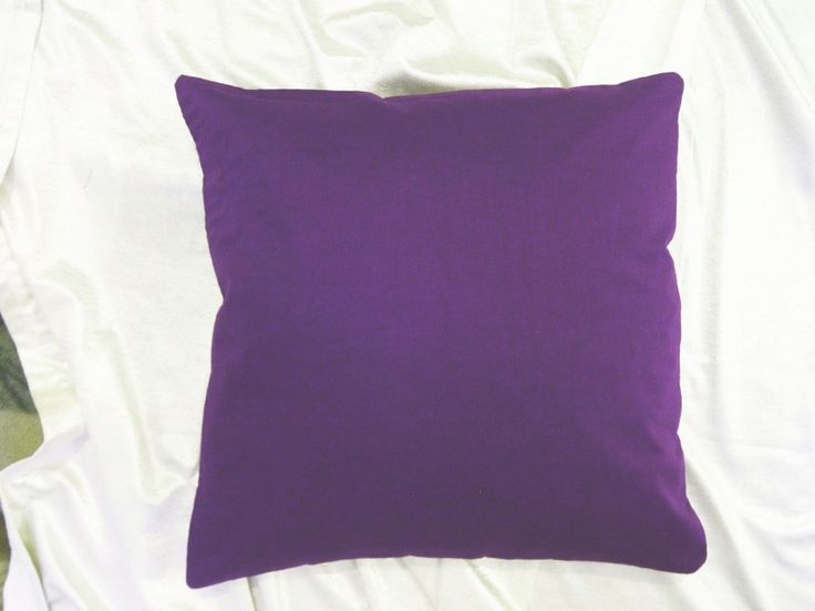100% Cotton Purple Cushion Case Solid Color Bed Pillow Cover Throw Couch Hd Ehs