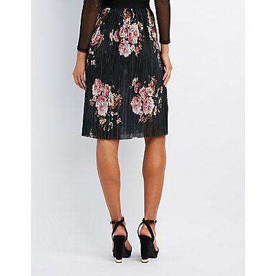 Floral Micro Pleated Midi Skirt
