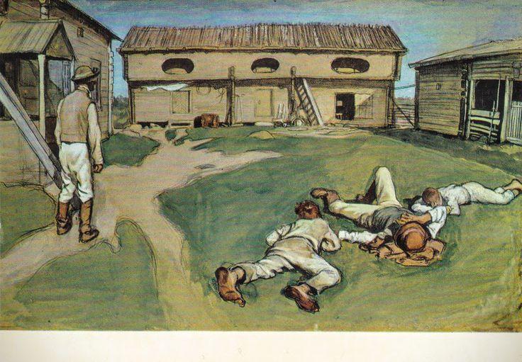 Kuva albumissa EERO JÄRNEFELT - Google Kuvat.  Isäntä ja rengit 1893.  Turun Taidemuseo.