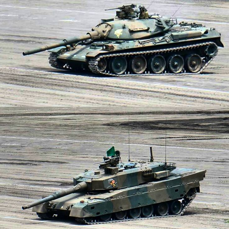 Tanks Type 74 and Type 90 during a demonstration of the capabilities of its suspension.
