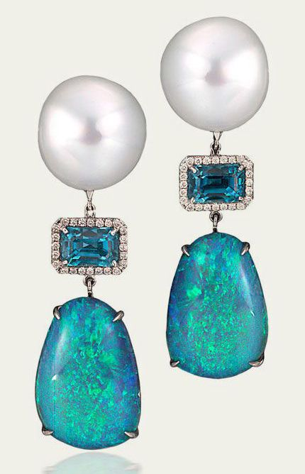 Ann Ziff: Earrings with White South Sea Pearls, Black Opal, Blue Zircon, Diamond Pavé, 18k White Gold