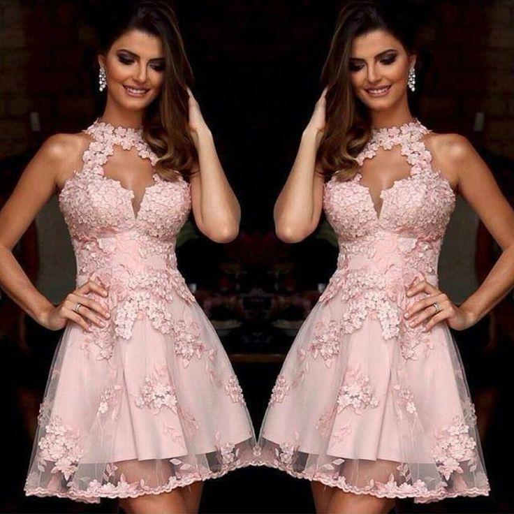 Barato Elegantes Vestidos de Cocktail Rosa Halter Lace Apliques Curto Prom Dress…                                                                                                                                                     Mais