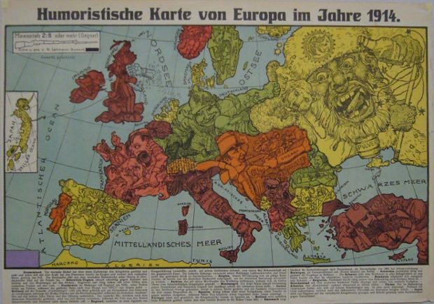 "The second of two maps by Karl Lehmann-Dumont, both published in Dresden in 1914, both called ""Humoristische Karte von Europa im Jahre 1914"