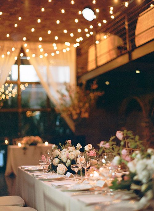Jackie and Derek Romantic Spring Wedding at the Foundry, Reception Decor with Low Centerpieces and Lights