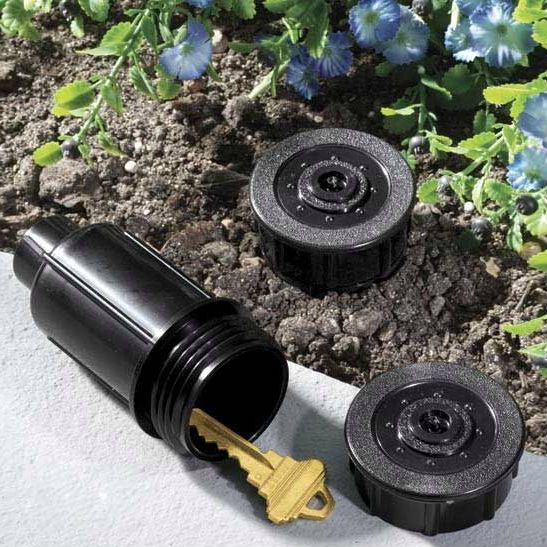 sprinkler head hide a key, also useful as a micro #geocache