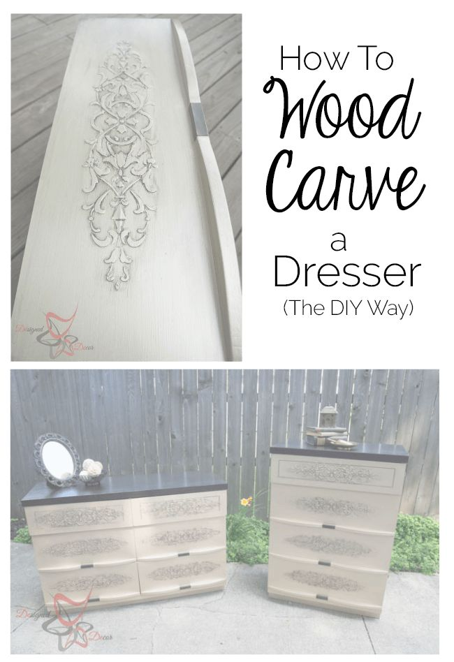 DIY:  How to Add Dimension to Flat Furniture - give your furniture the look of carved wood with a stencil and paste that, when hardened and painted, looks like carved wood - via Designed Decor