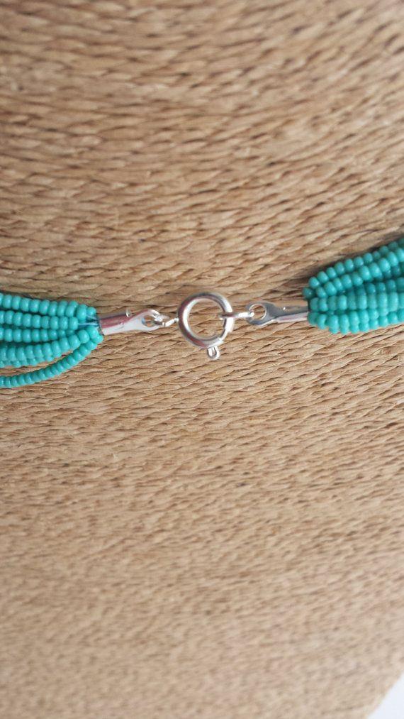Collar de turquesa verde azulado collar declaración boho