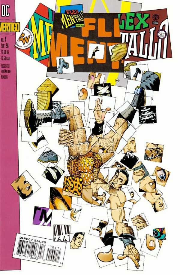 The cover to Flex Mentallo #4 (1996), art by Frank Quitely, design by Rian Hughes