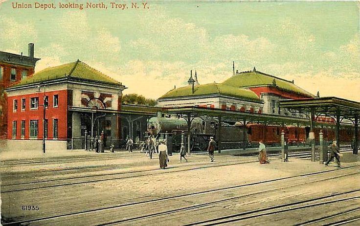 Troy New York NY 1908 Union Railroad Depot Track Side Antique Vintage Postcard | eBay