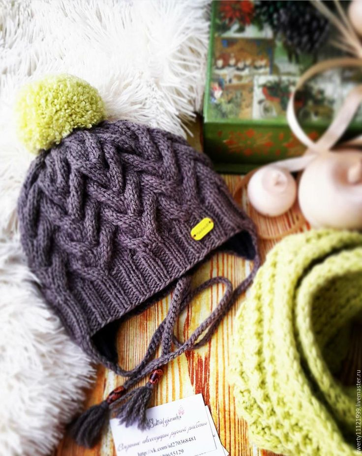 """Купить Комплект """"Мокко"""" шапка, снуд - кофейный цвет, мокко, лимонный цвет, шапка"""