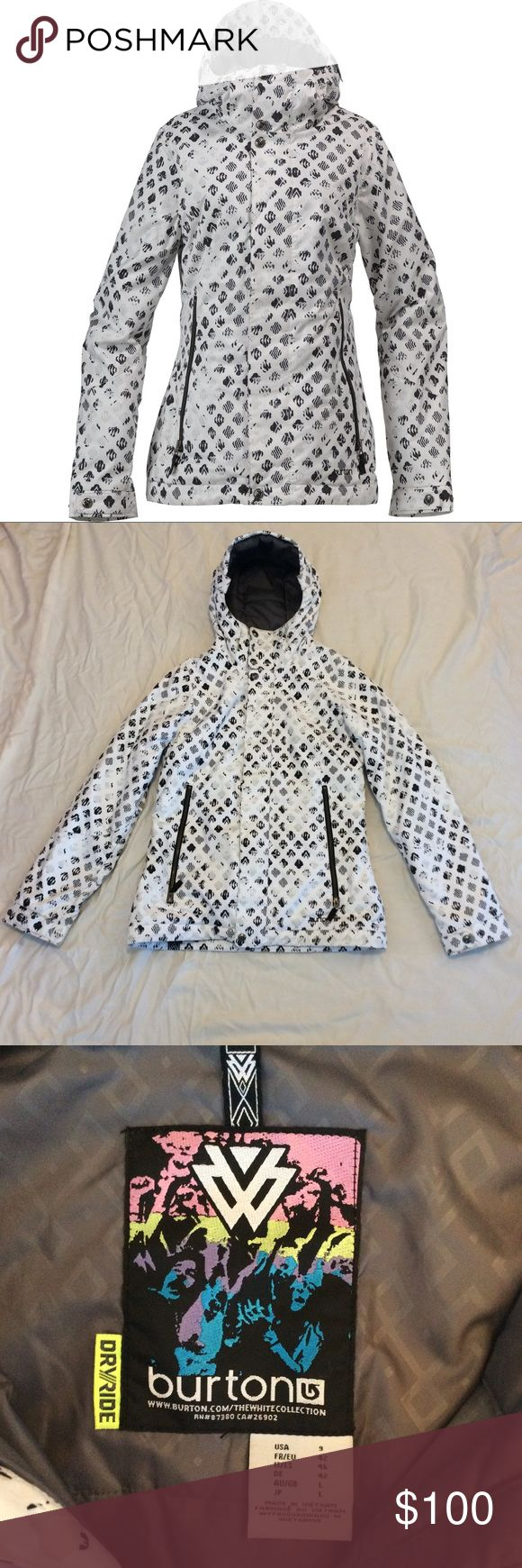 Burton women snowboard jacket -Baby Cakes Jacket Details/specs: https://www.evo.com/outlet/insulated-jackets/burton-the-white-collection-baby-cakes-jacket-womens  Women's Size 9. Worn once on ski trip. In excellent condition  Thermacore™ (60g body/ 40g sleeves) insulation is low bulk, known for its ability to create heat without limiting mobility. Embossed Taffeta lining offers crisp, high-end feel that wicks and breathes easy to keep you dry from the inside out  Burton's Slim Fit is just a…