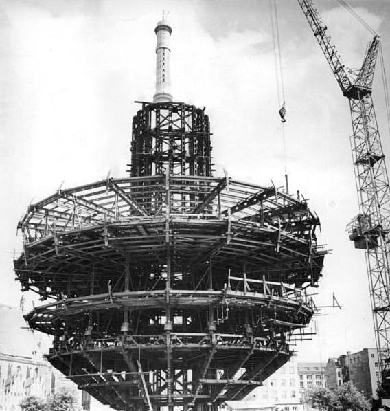 Constructing the Fernsehturm 1960's, Berlin