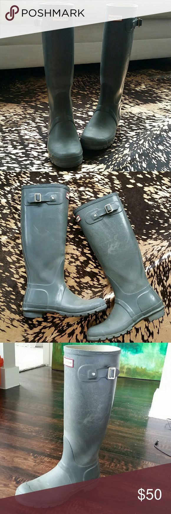 Hunter Rain Boots Tall Grey Hunter Boots. Used. Hunter Boots Shoes Winter & Rain Boots