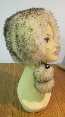 Fake fur winter hat with big furry pom poms, 1970's--you know you wore one!: