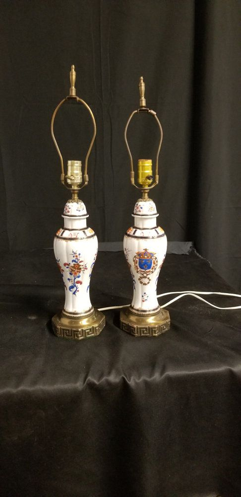 Pair Of Porcelain Painted Table Lamps Chinese Inspired Table Lamp Pair White Table Lamps By Chandeluse On Etsy