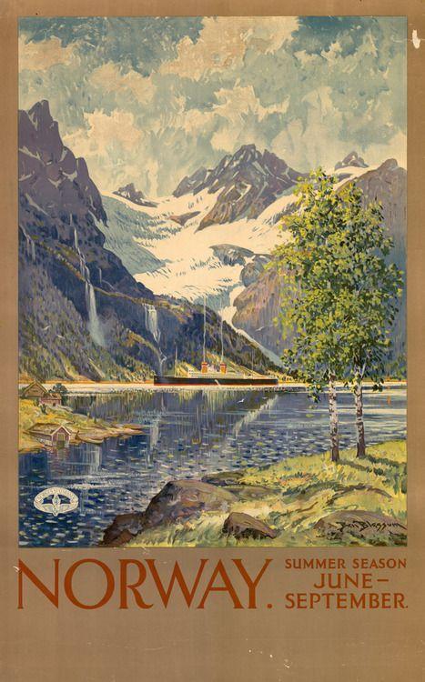 Vintage #Norway Travel Poster: Vintage Posters, Travelposters, Norway Poster, Posters Norway, Photo, Vintage Travel Posters, Posters Travel