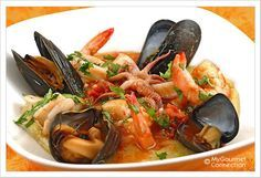 Seafood Medley with Tomato-Butter Sauce and Soft Polenta Recipe from MyGourmetConnection