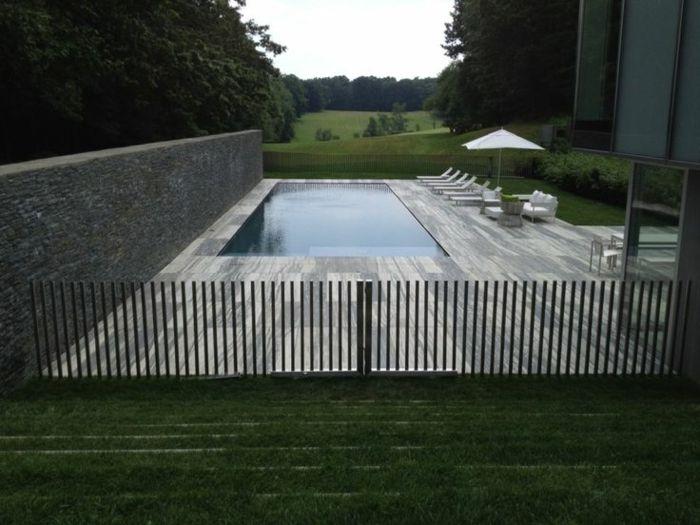 moderne gestaltung vom pool - edelstahl zaun