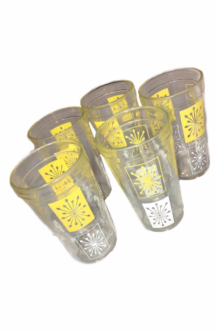 Yellow and White Drinking Glasses Late 60's early 70's Set of 5 by InspireVintageStyle on Etsy
