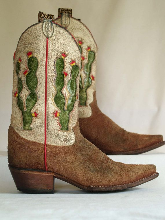 vintage distressed justin suede cactus inlay by RabbitHouseVintage