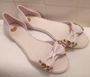 MEL BY Melissa White Peep TOE Jelly Shoes Sandals Size 9 Ladies Slip ON | eBay