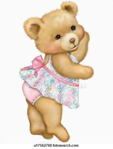 Illustration of Teddy bear with dress