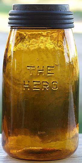 THE HERO quart in medium orange-amber color. Antique Fruit Jar Hall of Fame