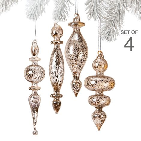 Mercury Glass Ornament Set of 4 reg.  $14.99 Product Number  1023614 Add lots of sparkle to your holiday tree with silvery ornaments reminiscent of old mercury glass. Includes silver hanging cord. www.Facebook.com/shopavonwithdeon