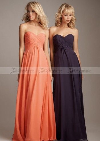 A-Line Strapless Sweetheart Pleated Zipper Back Floor-Length Bridesmaid Dresses