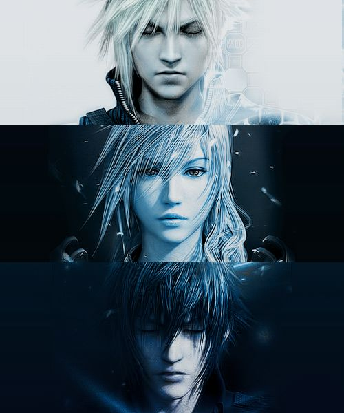 Cloud, Lightning, and the last one unfortunately I don't know, haven't kept up with the Final Fantasies >.<