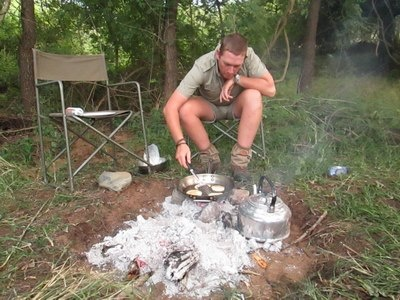 Ivor leaves in 4 hours for his next overnight trail. He is taking Franz Weiz on trail, they will be walking for 2 days and sleeping 2 nights under the stars.  Picture - Ivor making crumpets for breakfast on the last trail.