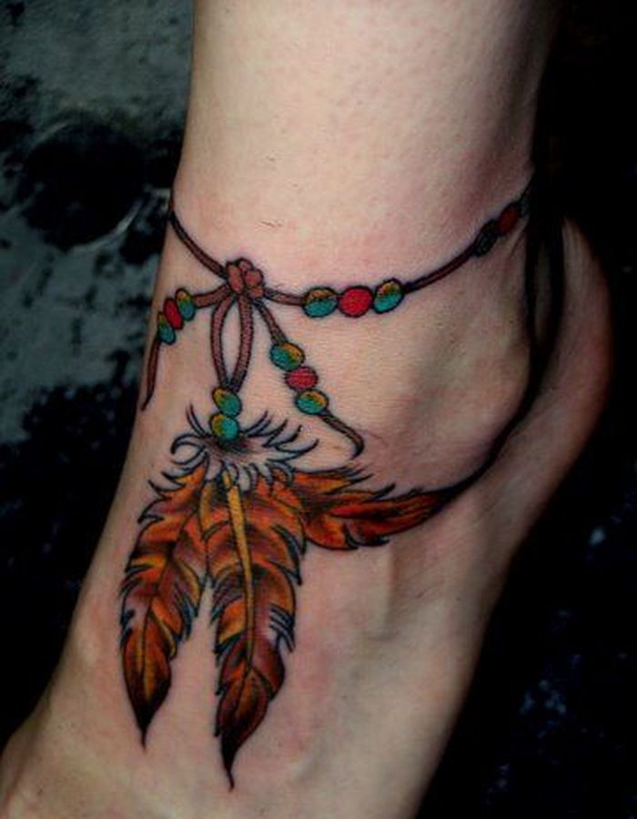 Cool Ankle Tattoo Designs For Women : Beautiful Feather Ankle Tattoo