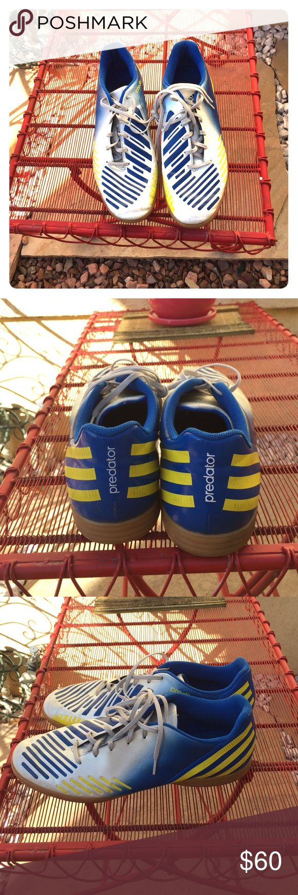 Adidas soccer shoes Adidas predito soccer shoes. Blue/white/yellow. Great condition Adidas Shoes Athletic Shoes