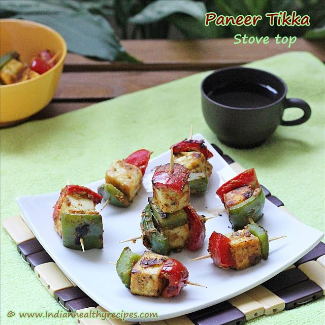 Paneer tikka on stove top without oven