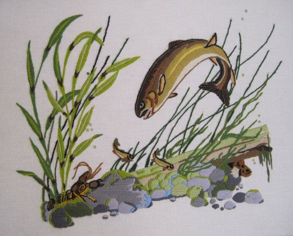 Vintage Crewel Embroidery Framed Trout Fish  by nappinghousestudio, $39.00