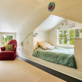 attic bed w/ built-in wall storage, this would be in my ideal Mom cave. A perfect place to read or take a nap.