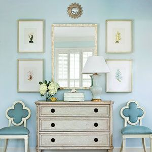 Summer style!! Pale Blue and white Entry way, front hallway, foyer!! Fresh and summery! Cool and elegant!