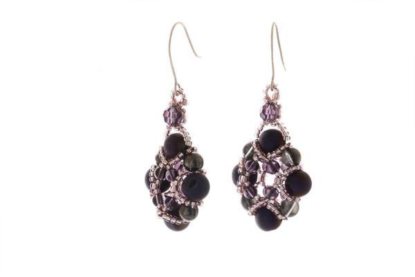 Hanging on side -Evening Wonder - Natural Agate Gemstone Earrings - KTC-331 - Kalitheo Creations